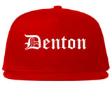 Denton Texas TX Old English Mens Snapback Hat Red
