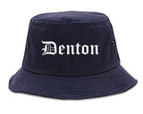 Denton Texas TX Old English Mens Bucket Hat Navy Blue