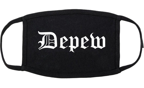 Depew New York NY Old English Cotton Face Mask Black