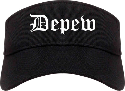 Depew New York NY Old English Mens Visor Cap Hat Black