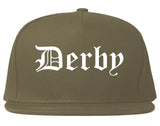 Derby Connecticut CT Old English Mens Snapback Hat Grey