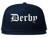 Derby Connecticut CT Old English Mens Snapback Hat Navy Blue