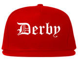 Derby Connecticut CT Old English Mens Snapback Hat Red