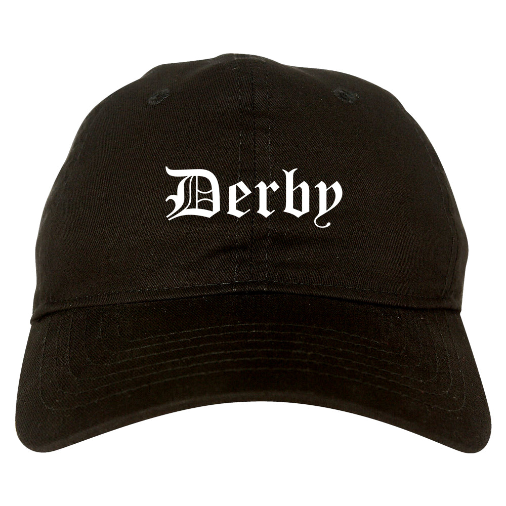 Derby Connecticut CT Old English Mens Dad Hat Baseball Cap Black