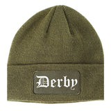 Derby Kansas KS Old English Mens Knit Beanie Hat Cap Olive Green