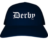 Derby Kansas KS Old English Mens Trucker Hat Cap Navy Blue