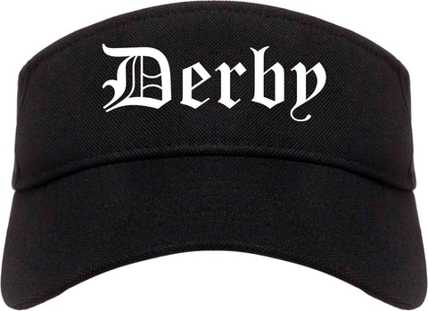Derby Kansas KS Old English Mens Visor Cap Hat Black
