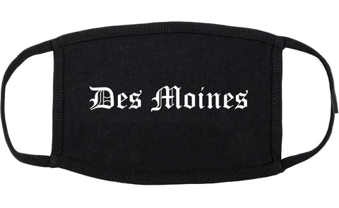 Des Moines Iowa IA Old English Cotton Face Mask Black