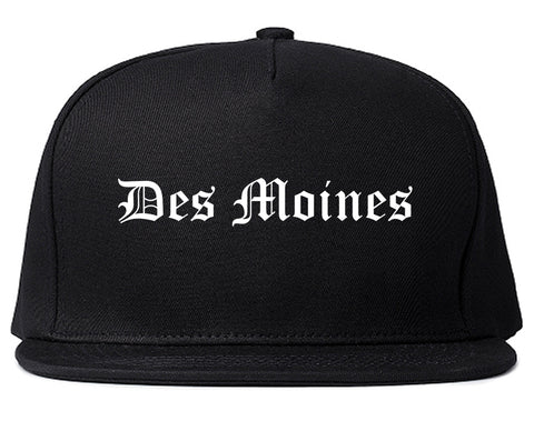 Des Moines Iowa IA Old English Mens Snapback Hat Black