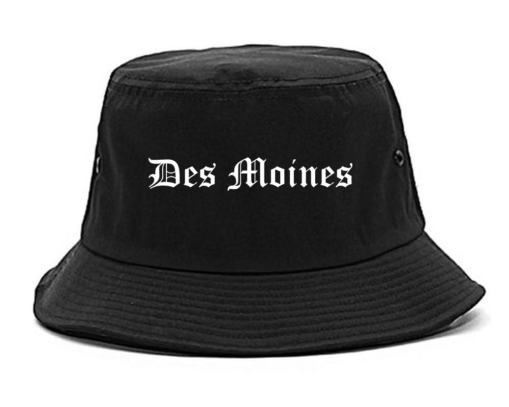 Des Moines Iowa IA Old English Mens Bucket Hat Black