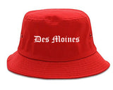 Des Moines Iowa IA Old English Mens Bucket Hat Red