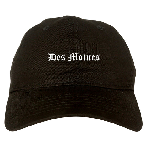 Des Moines Iowa IA Old English Mens Dad Hat Baseball Cap Black