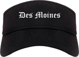 Des Moines Iowa IA Old English Mens Visor Cap Hat Black
