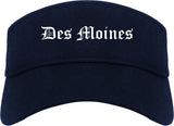 Des Moines Iowa IA Old English Mens Visor Cap Hat Navy Blue