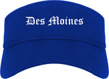 Des Moines Iowa IA Old English Mens Visor Cap Hat Royal Blue