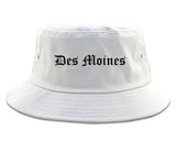 Des Moines Iowa IA Old English Mens Bucket Hat White