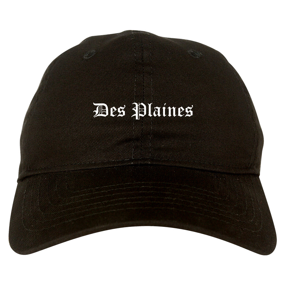 Des Plaines Illinois IL Old English Mens Dad Hat Baseball Cap Black