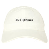 Des Plaines Illinois IL Old English Mens Dad Hat Baseball Cap White