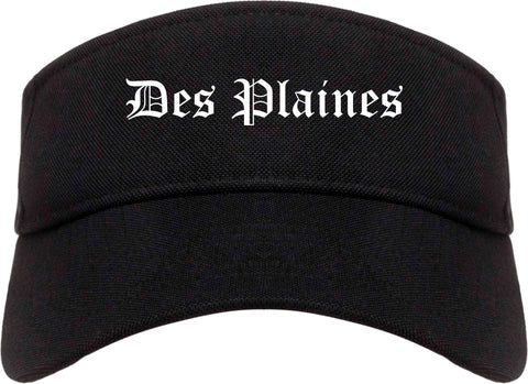 Des Plaines Illinois IL Old English Mens Visor Cap Hat Black