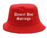 Desert Hot Springs California CA Old English Mens Bucket Hat Red