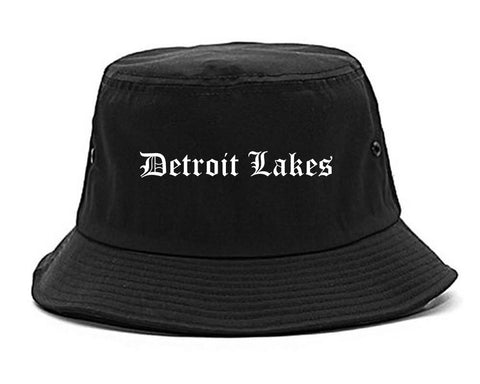 Detroit Lakes Minnesota MN Old English Mens Bucket Hat Black