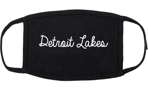 Detroit Lakes Minnesota MN Script Cotton Face Mask Black