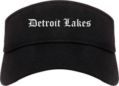Detroit Lakes Minnesota MN Old English Mens Visor Cap Hat Black
