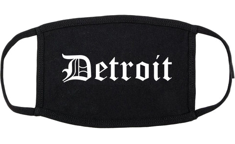Detroit Michigan MI Old English Cotton Face Mask Black