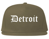 Detroit Michigan MI Old English Mens Snapback Hat Grey