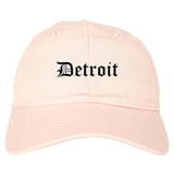 Detroit Michigan MI Old English Mens Dad Hat Baseball Cap Pink