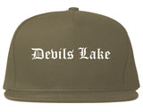 Devils Lake North Dakota ND Old English Mens Snapback Hat Grey