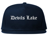 Devils Lake North Dakota ND Old English Mens Snapback Hat Navy Blue
