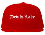 Devils Lake North Dakota ND Old English Mens Snapback Hat Red