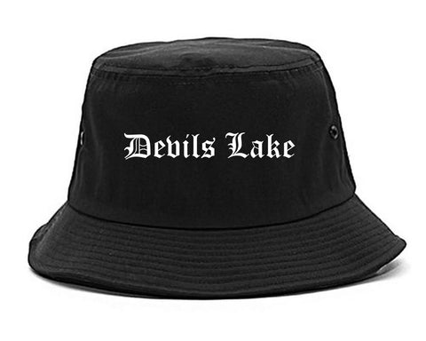 Devils Lake North Dakota ND Old English Mens Bucket Hat Black