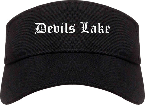 Devils Lake North Dakota ND Old English Mens Visor Cap Hat Black