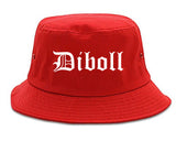 Diboll Texas TX Old English Mens Bucket Hat Red