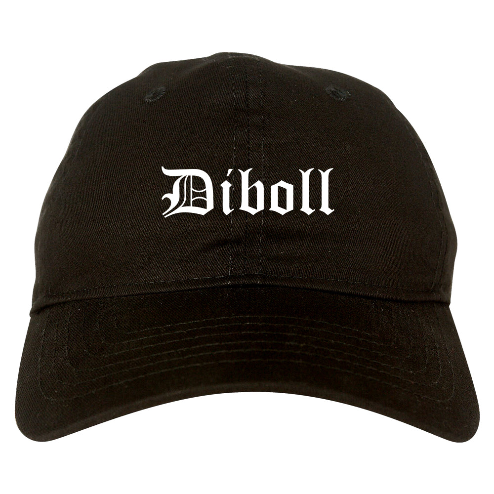 Diboll Texas TX Old English Mens Dad Hat Baseball Cap Black