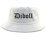 Diboll Texas TX Old English Mens Bucket Hat White