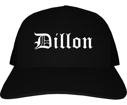 Dillon South Carolina SC Old English Mens Trucker Hat Cap Black
