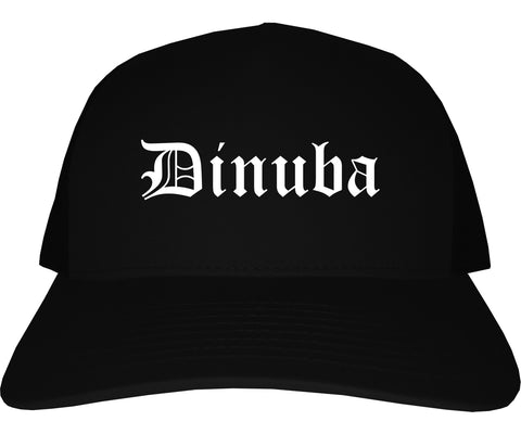 Dinuba California CA Old English Mens Trucker Hat Cap Black