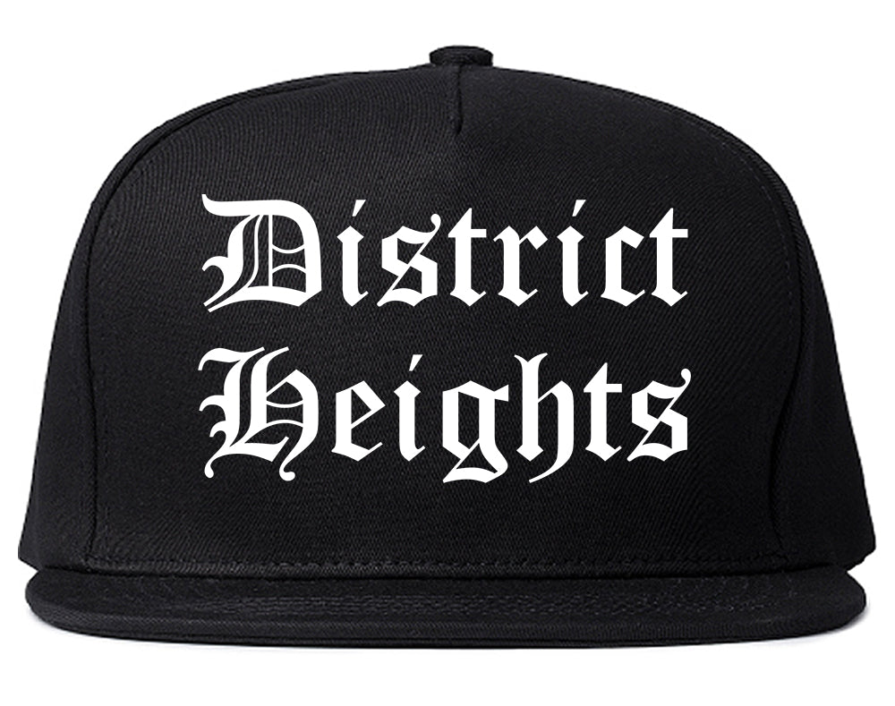 District Heights Maryland MD Old English Mens Snapback Hat Black