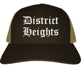 District Heights Maryland MD Old English Mens Trucker Hat Cap Brown