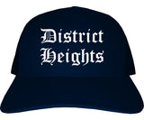 District Heights Maryland MD Old English Mens Trucker Hat Cap Navy Blue