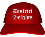 District Heights Maryland MD Old English Mens Trucker Hat Cap Red
