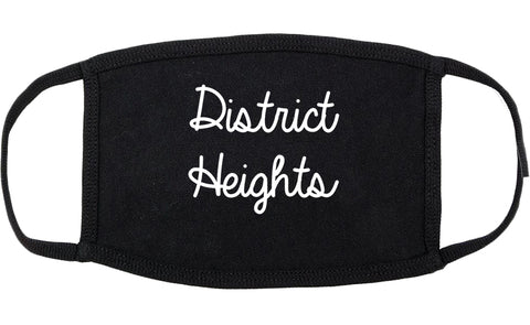 District Heights Maryland MD Script Cotton Face Mask Black