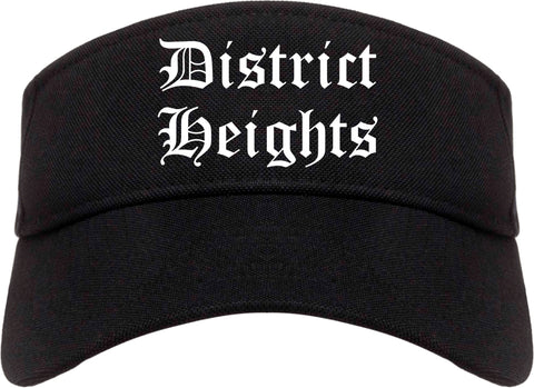 District Heights Maryland MD Old English Mens Visor Cap Hat Black