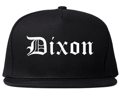 Dixon California CA Old English Mens Snapback Hat Black