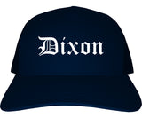 Dixon California CA Old English Mens Trucker Hat Cap Navy Blue