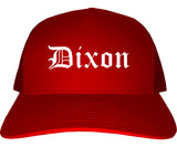 Dixon California CA Old English Mens Trucker Hat Cap Red