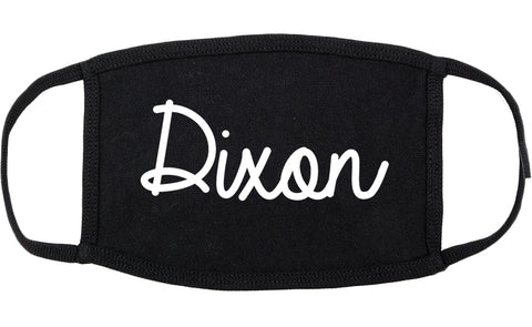Dixon Illinois IL Script Cotton Face Mask Black